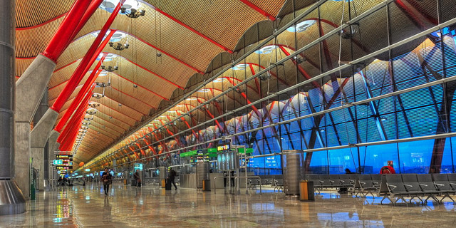 Madrid's airport is 13km (8 miles) from the centre of the city and was completely remodelled over the past decade.